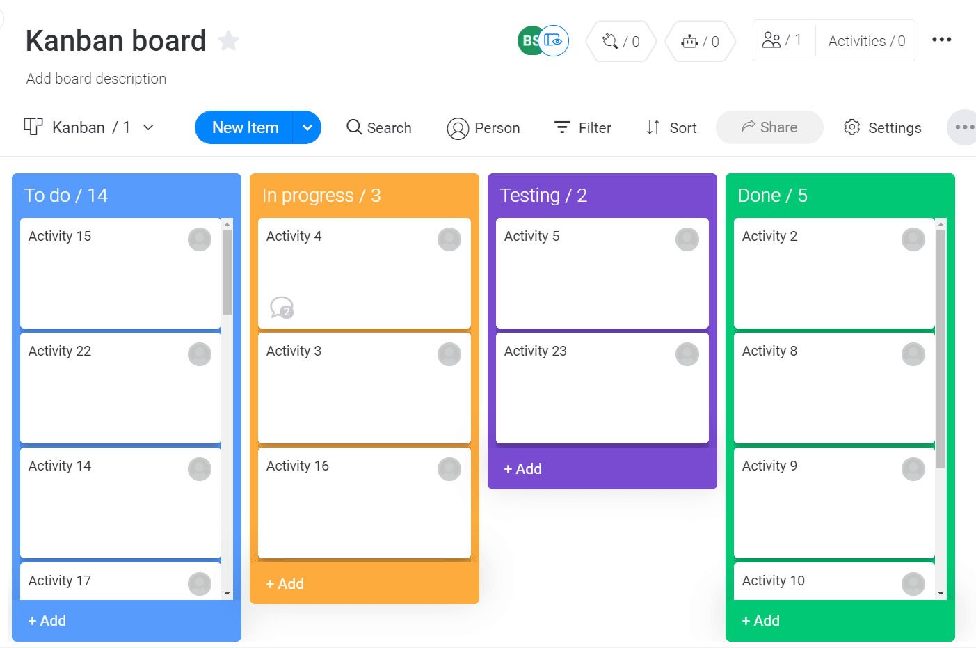 Screenshot of a kanban board in monday UI