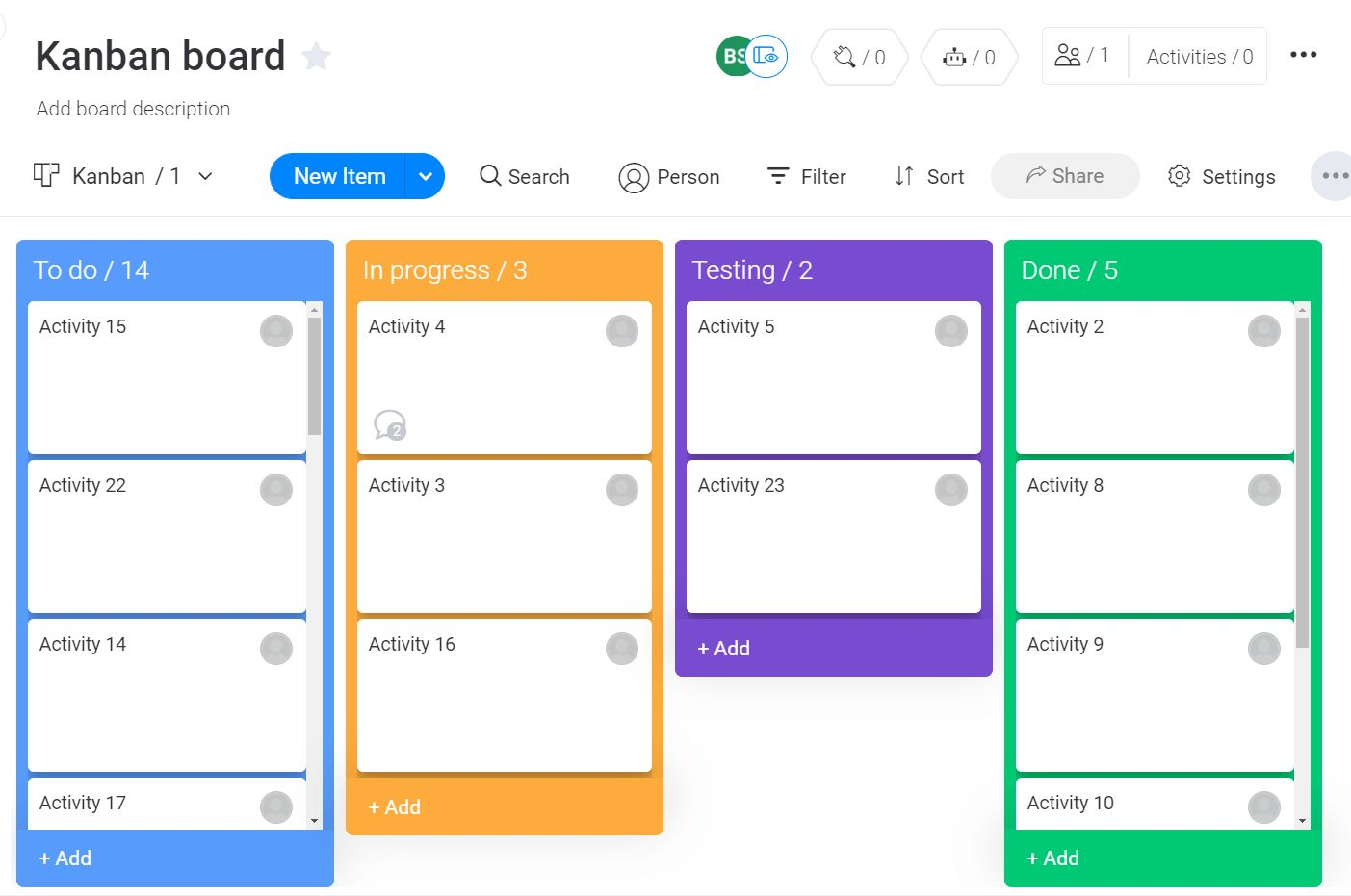 Screenshot of a kanban board in monday UI