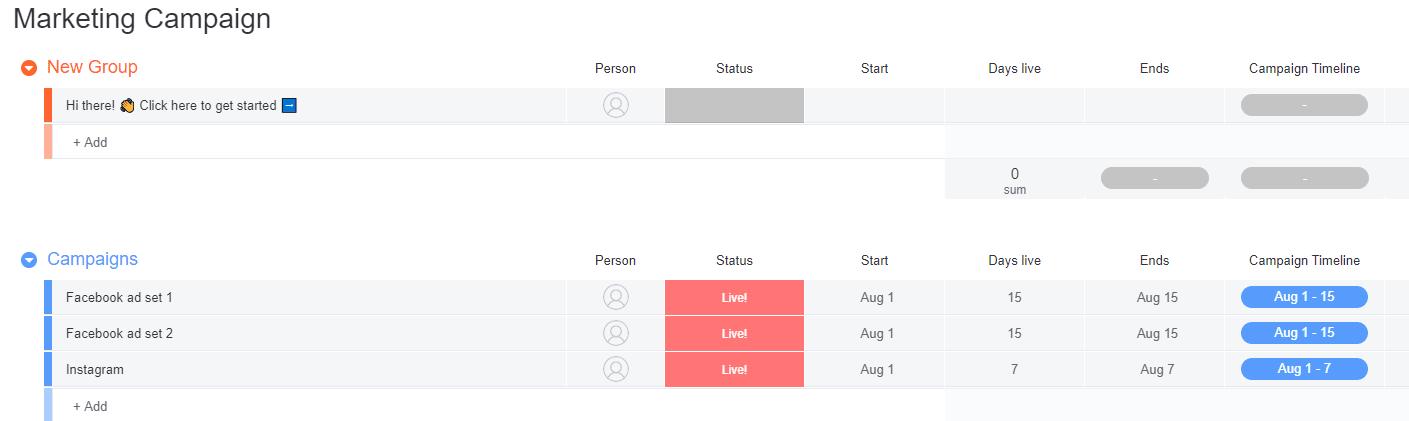 Screenshot of monday marketing campaign table UI