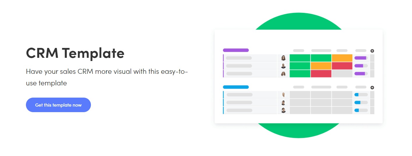 example of monday.com's CRM template