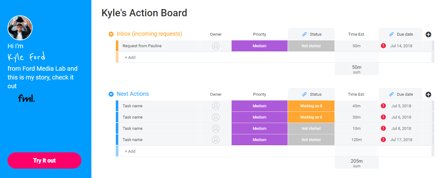 A screenshot of the action board template from Monday.com.