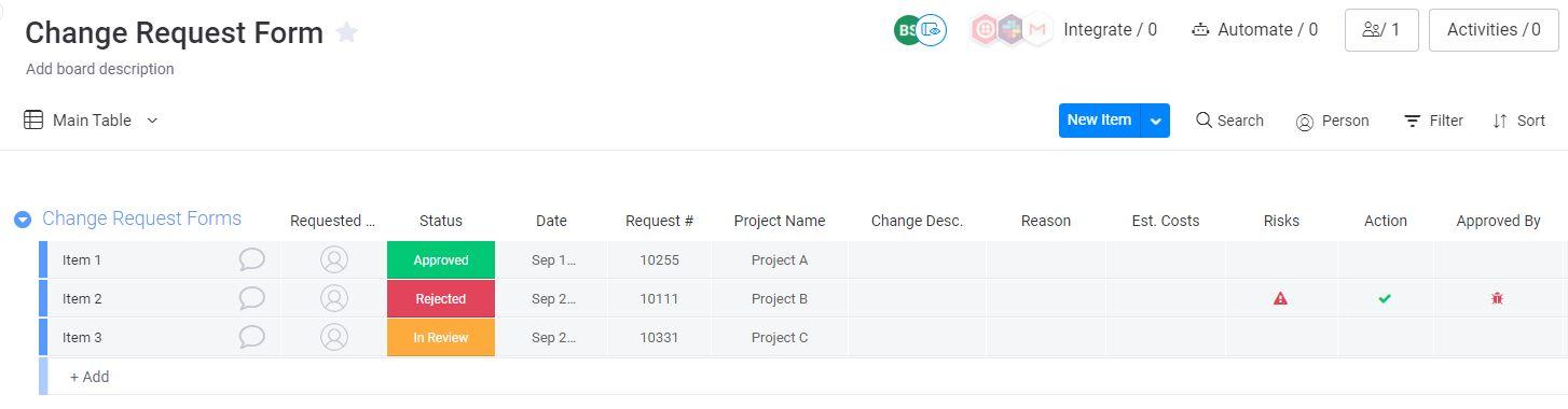 Change request form