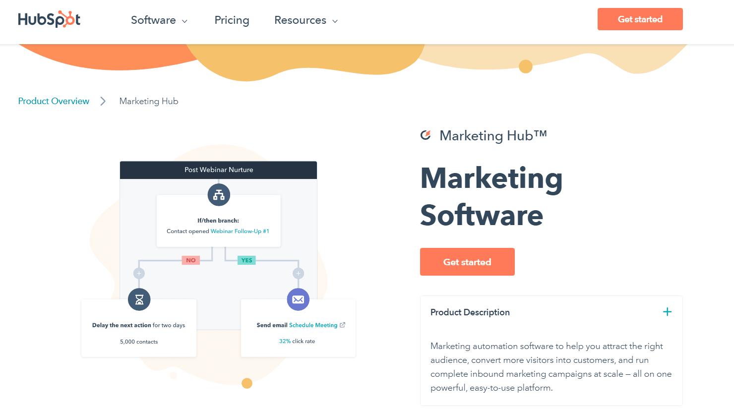 A screenshot of HubSpot's homepage