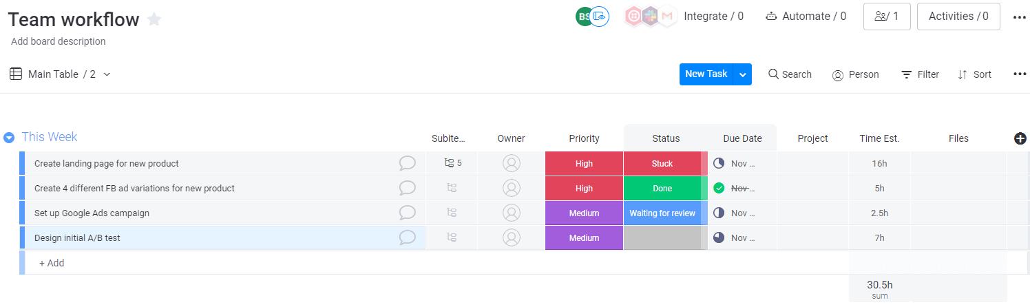 Team workflow board in monday UI