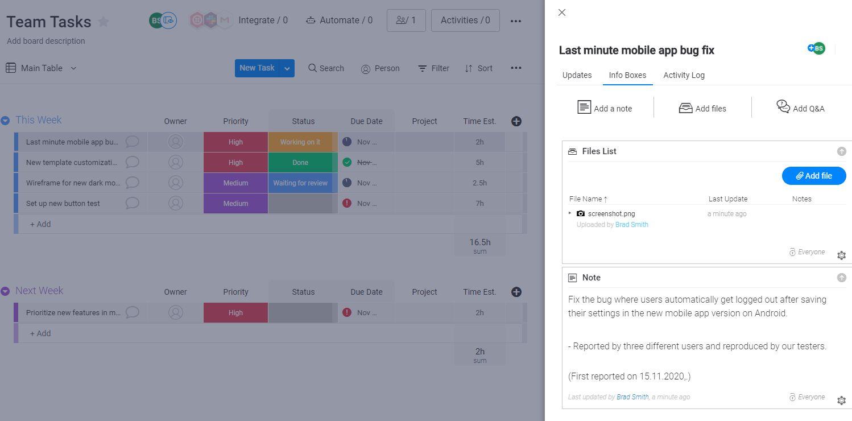 Screenshot of a task in monday UI.