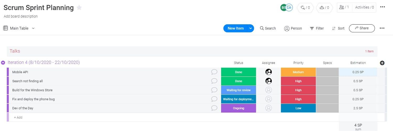 scrum sprint planning from Monday.com
