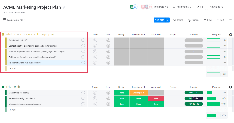 Contingency workflow in monday UI