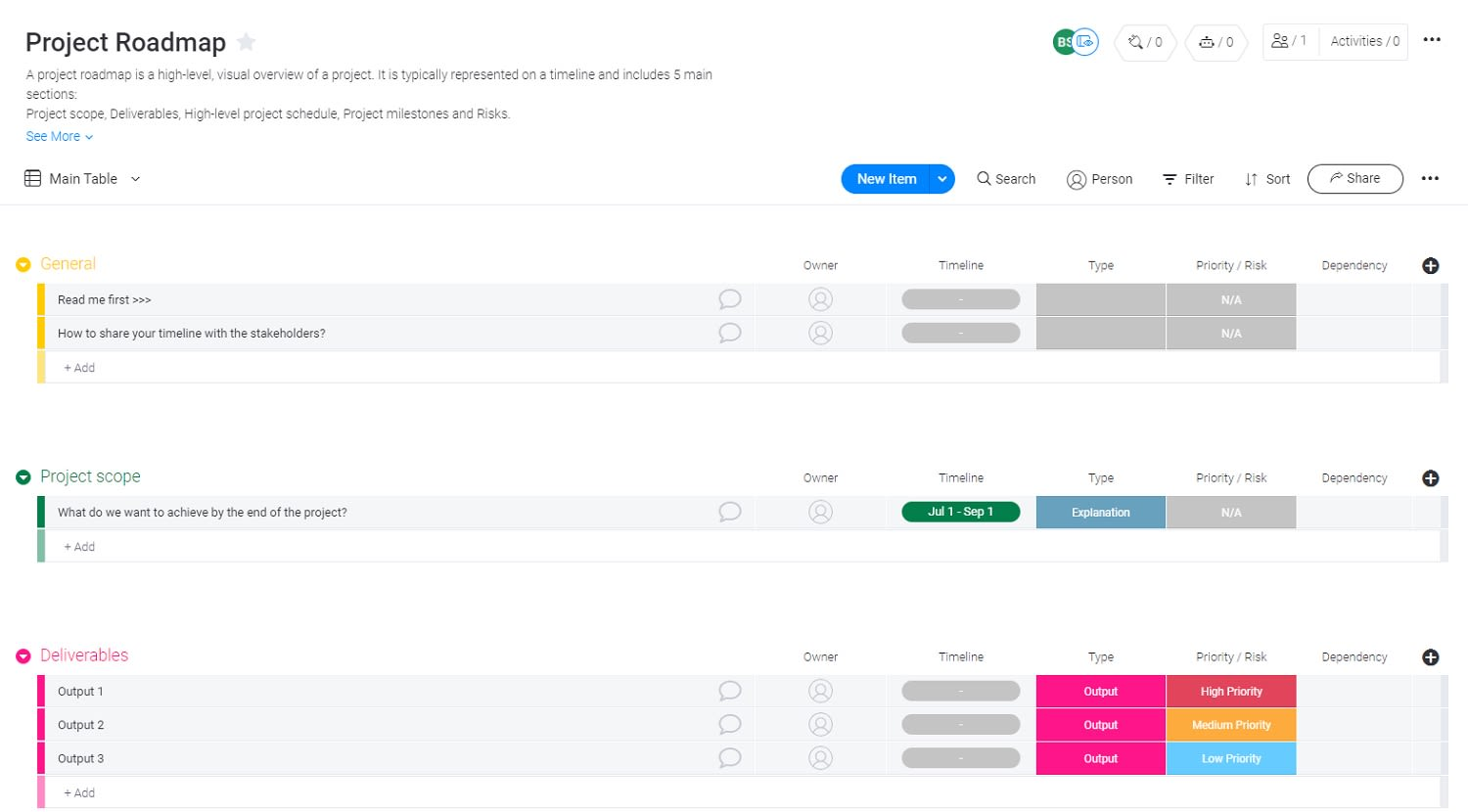 Project roadmap example in monday UI.