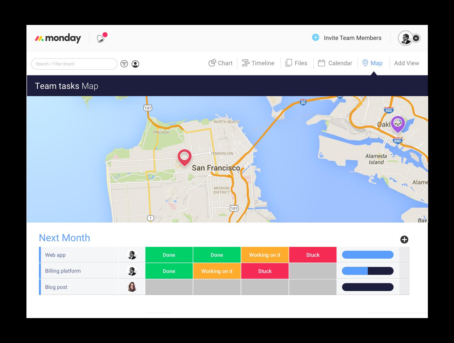 Photo of monday.com's team tasks map