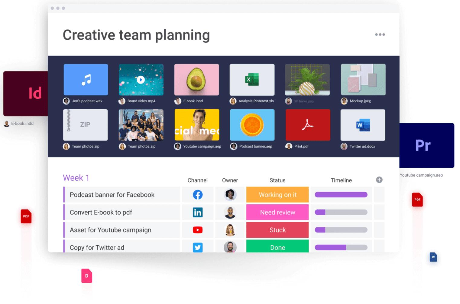 Screenshot of monday.com creative team planning views.