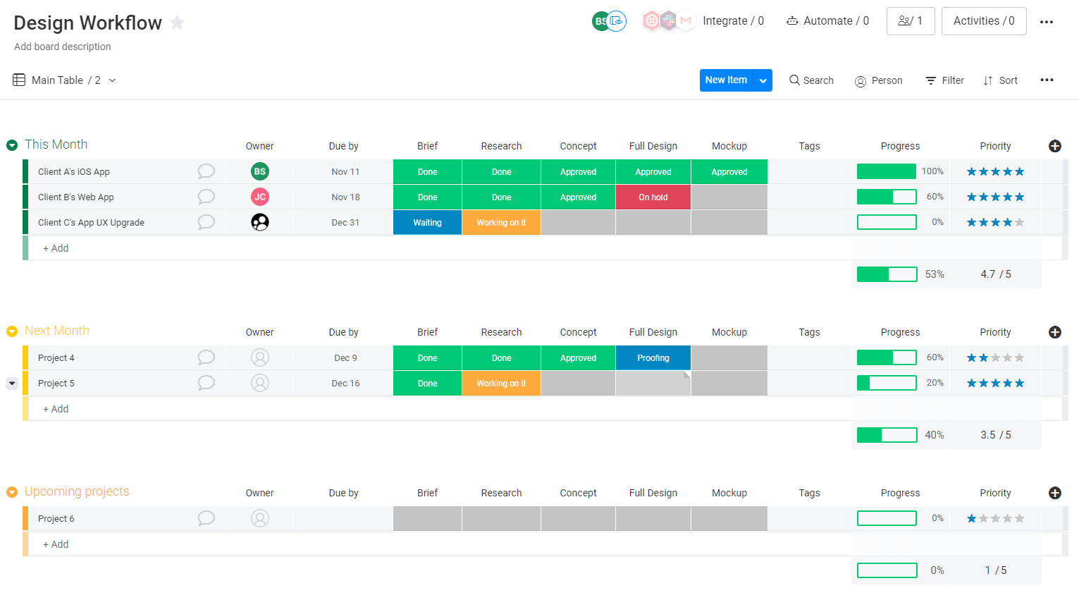 Design workflow board in monday.com UI