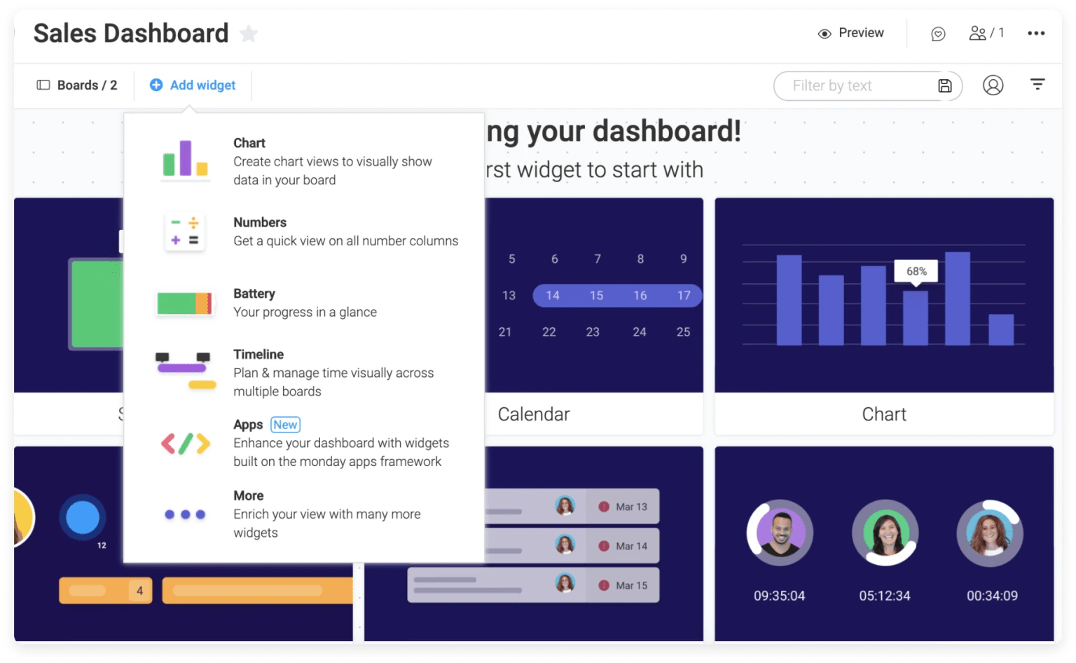Add widgets to monday.com KPI dashboard