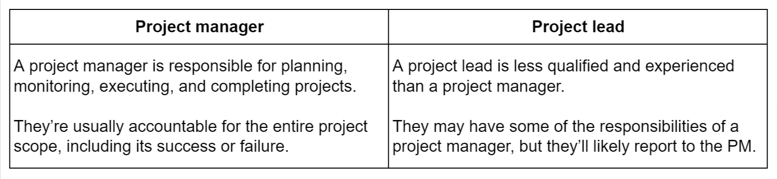 Project manager vs project lead