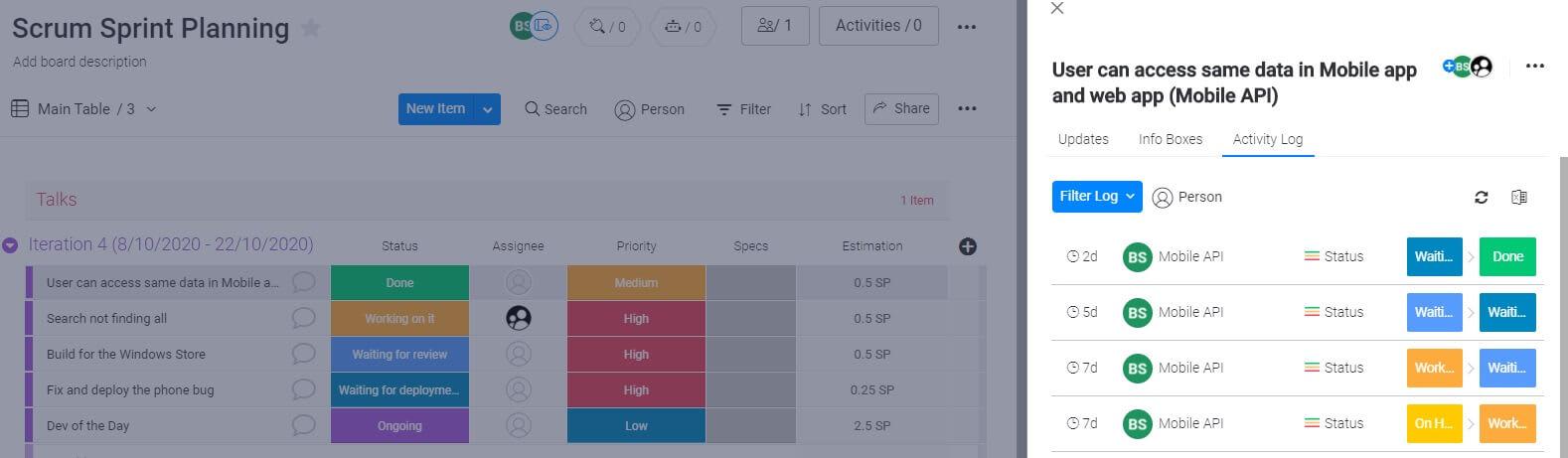 Screenshot of monday UI - Scrum Sprint activity log