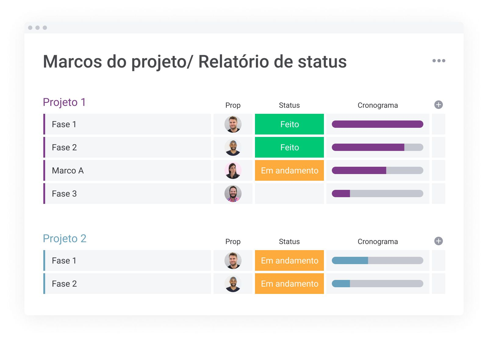 Marcos do projeto/ Relatório de status