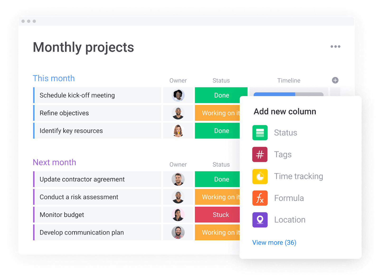 monday.com's project management platform allows users to view their monthly projects in one place
