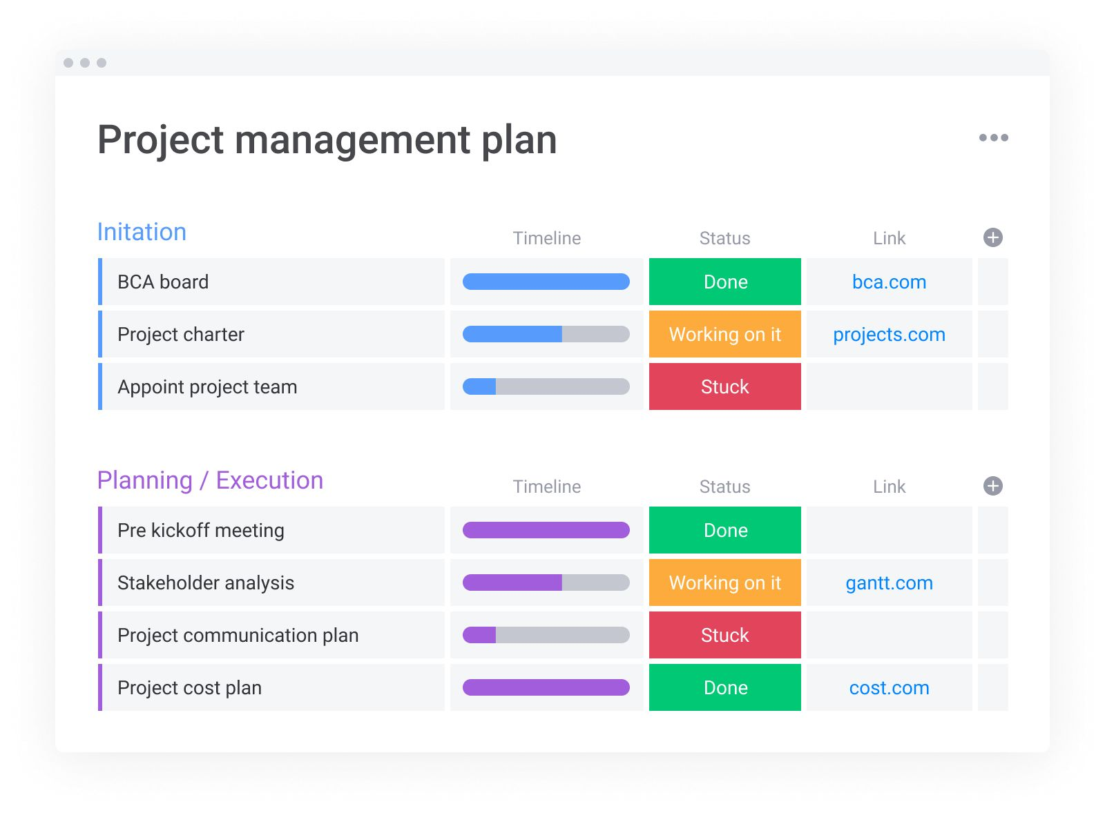 A screenshot of monday.com's project management board