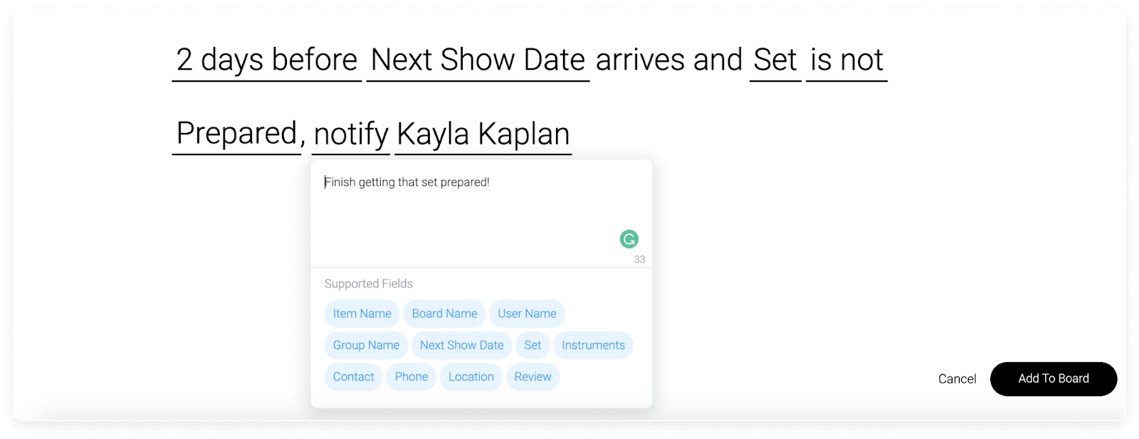 automation in monday.com for notifying someone about an upcoming task