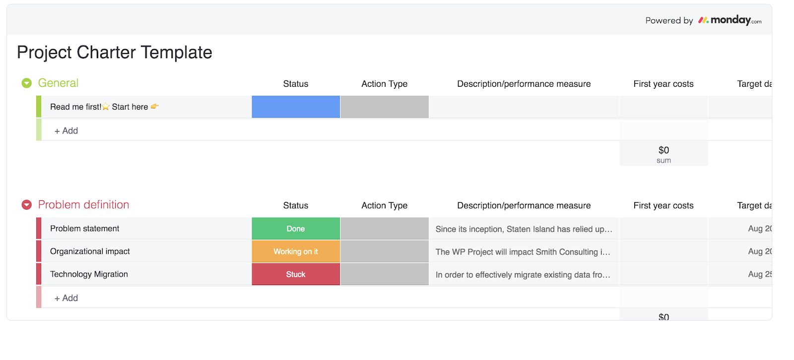 screenshot of monday.com project planning template