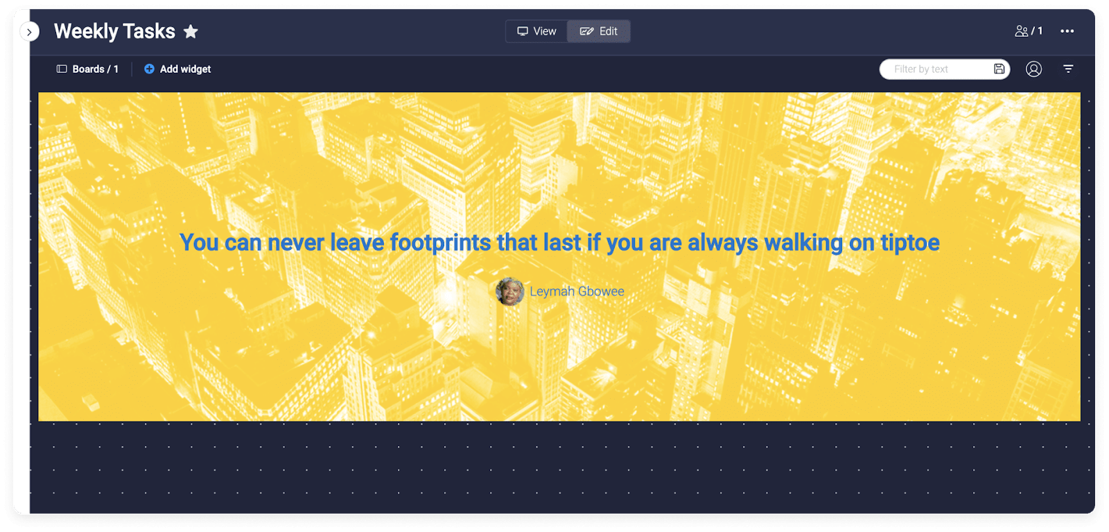 monday.com's quote of the day widget example