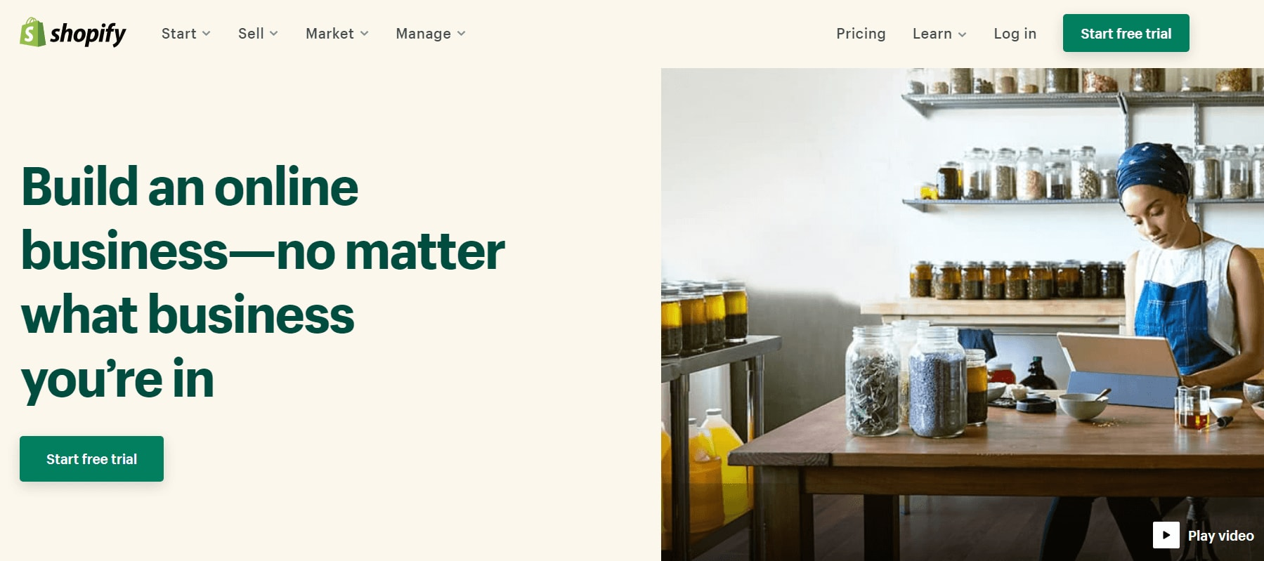 The homepage for Shopify, an eCommerce content management tool.