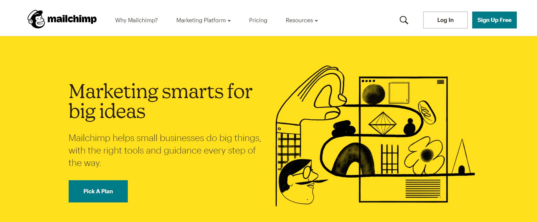 A screenshot of Mailchimp's homepage.