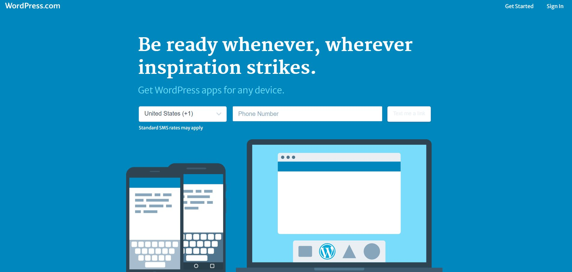 The homepage for WordPress, the most popular content management tool in the world.