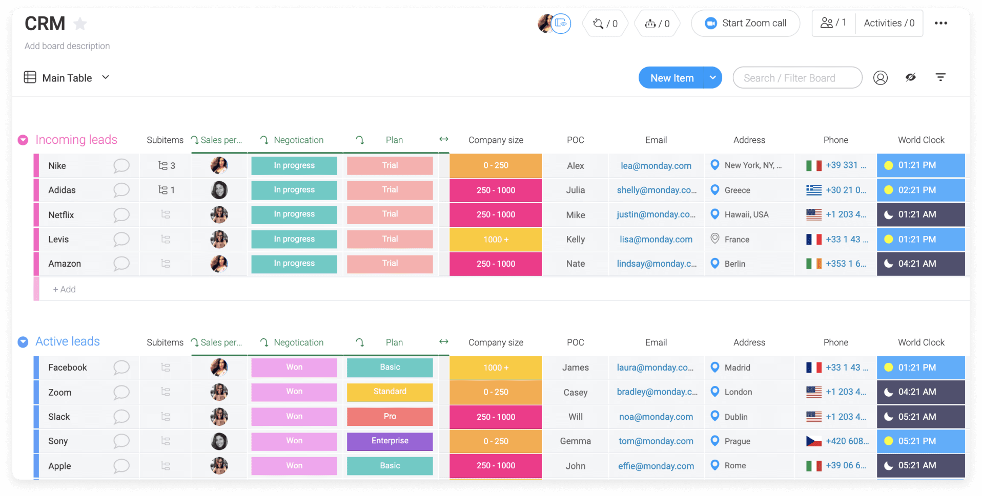 CRM template from Monday.com