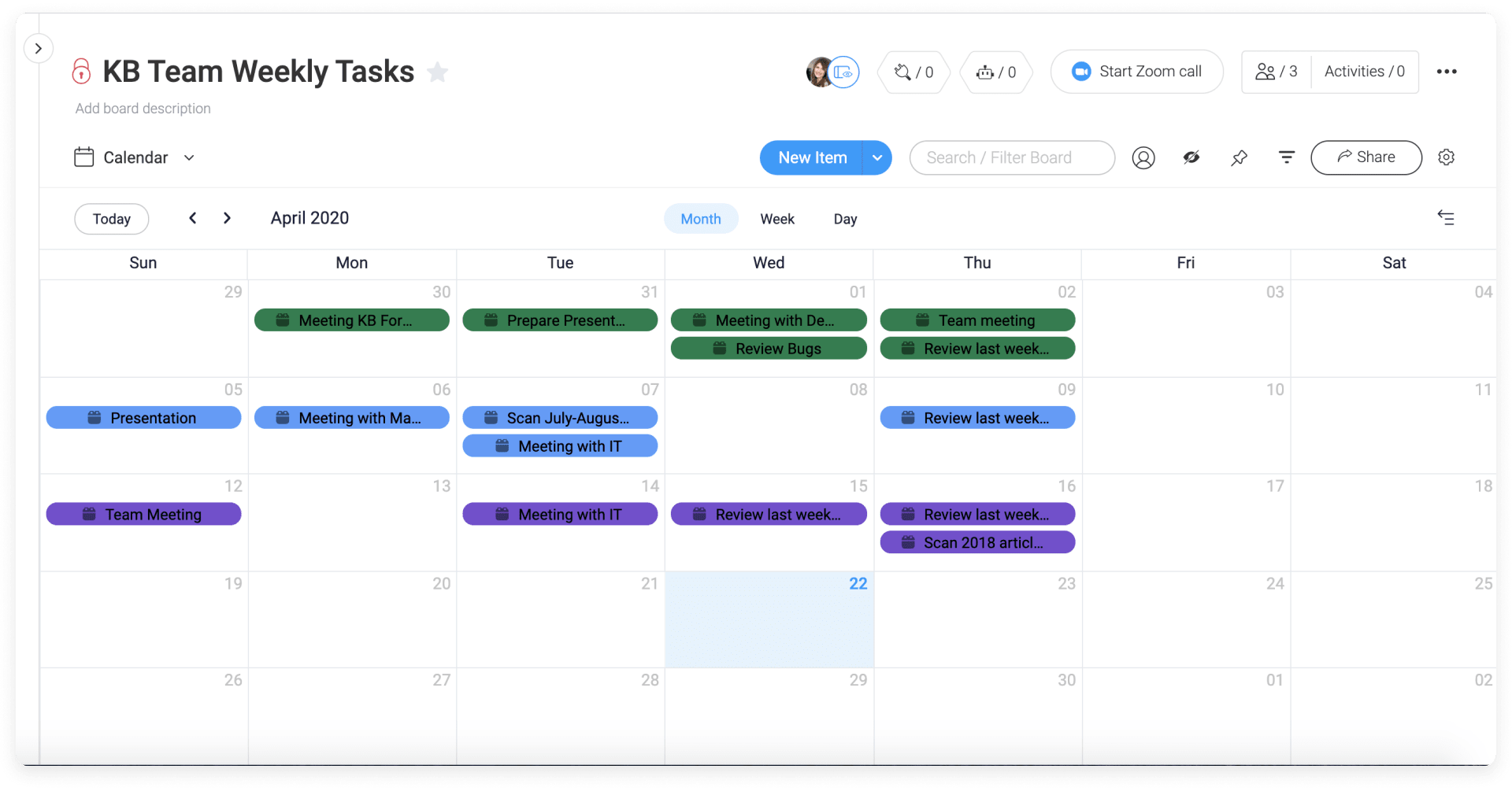 monday.com's calendar view allows users to view their project boards in their entirety.