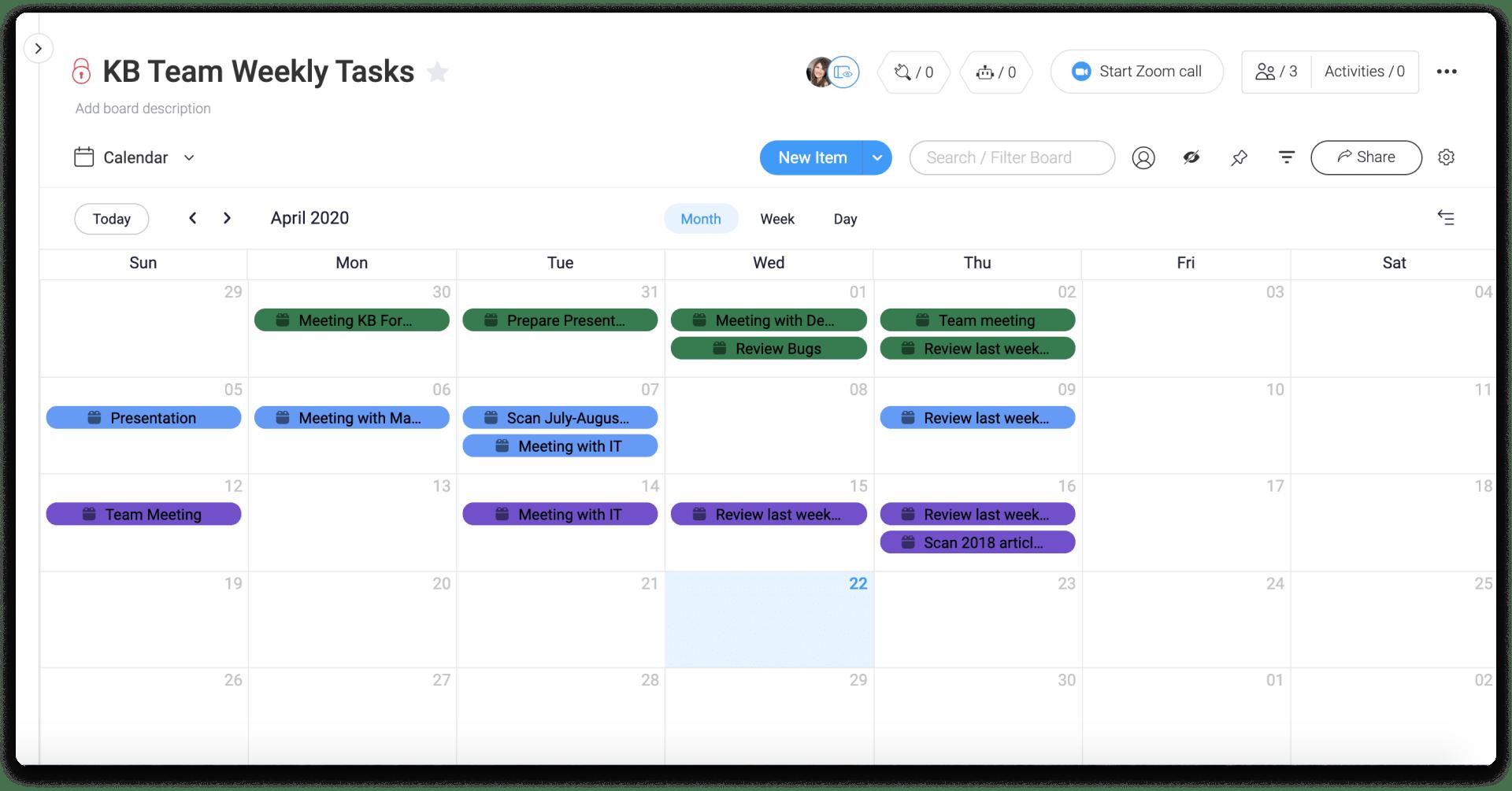 screenshot of monday.com calendar view