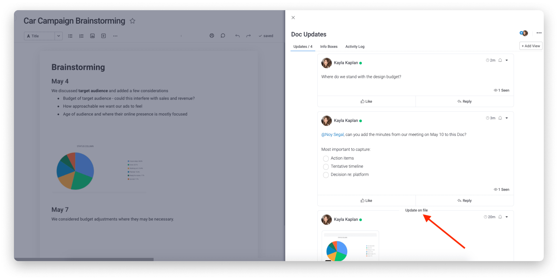 The Updates section on a Doc can boost collaboration