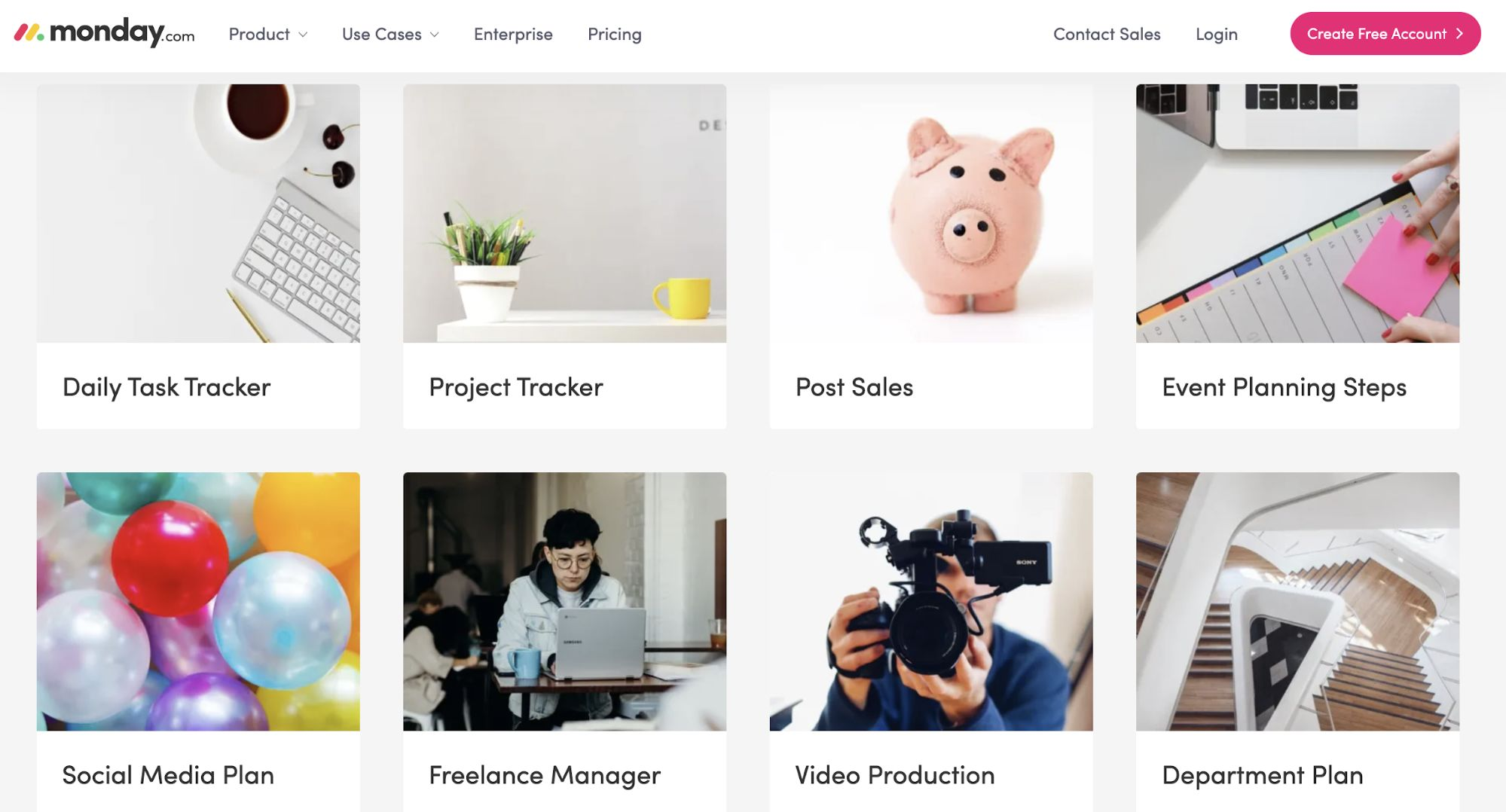 Photo of monday.com's template page