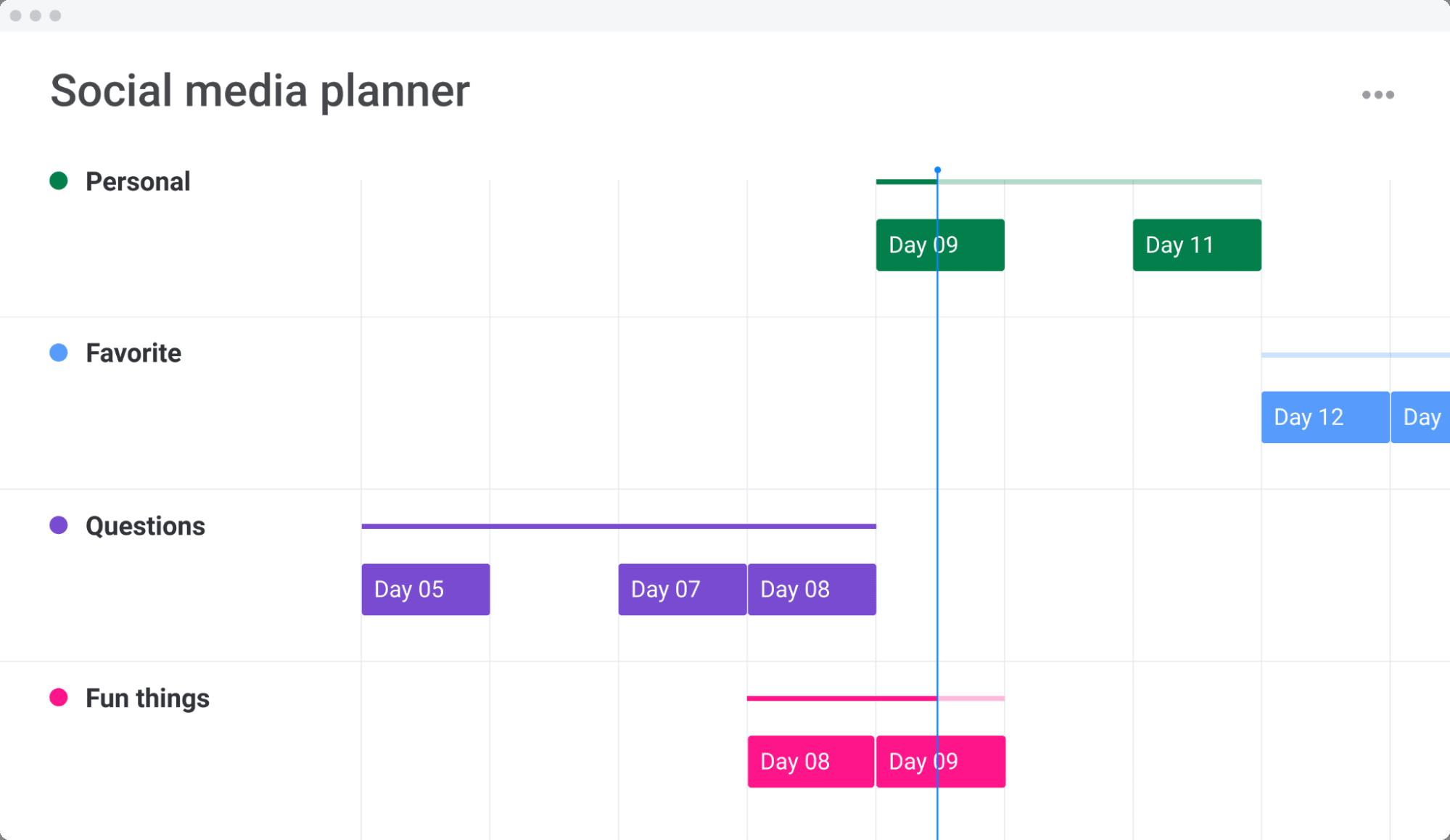monday.com social media planner template