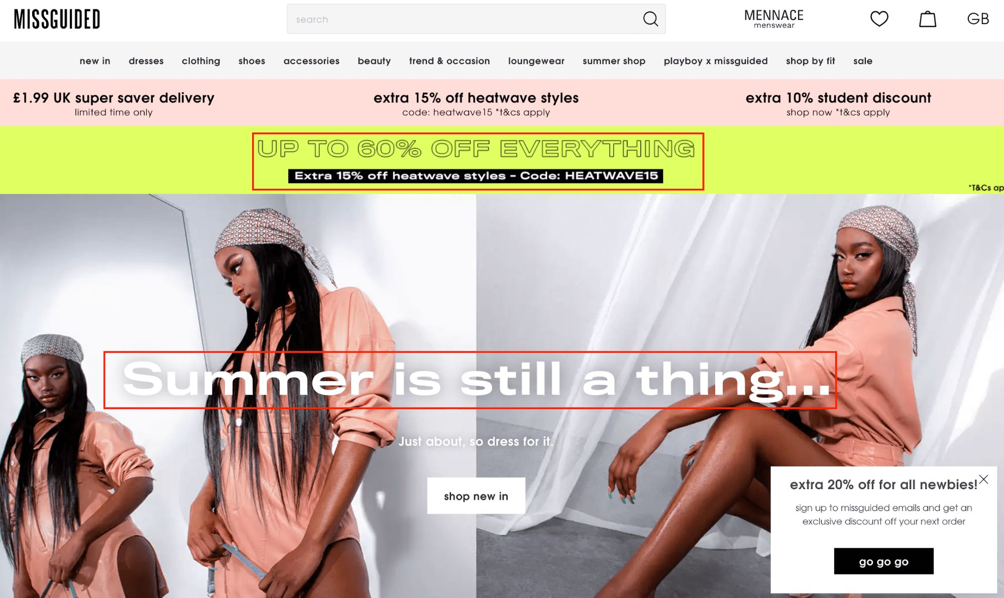 sample online clothing retailer page