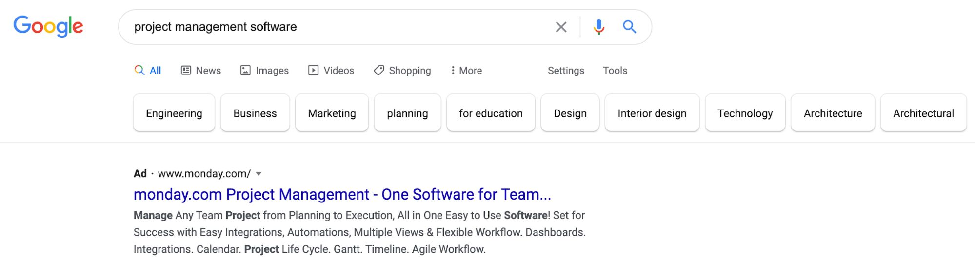 Project management software search result.