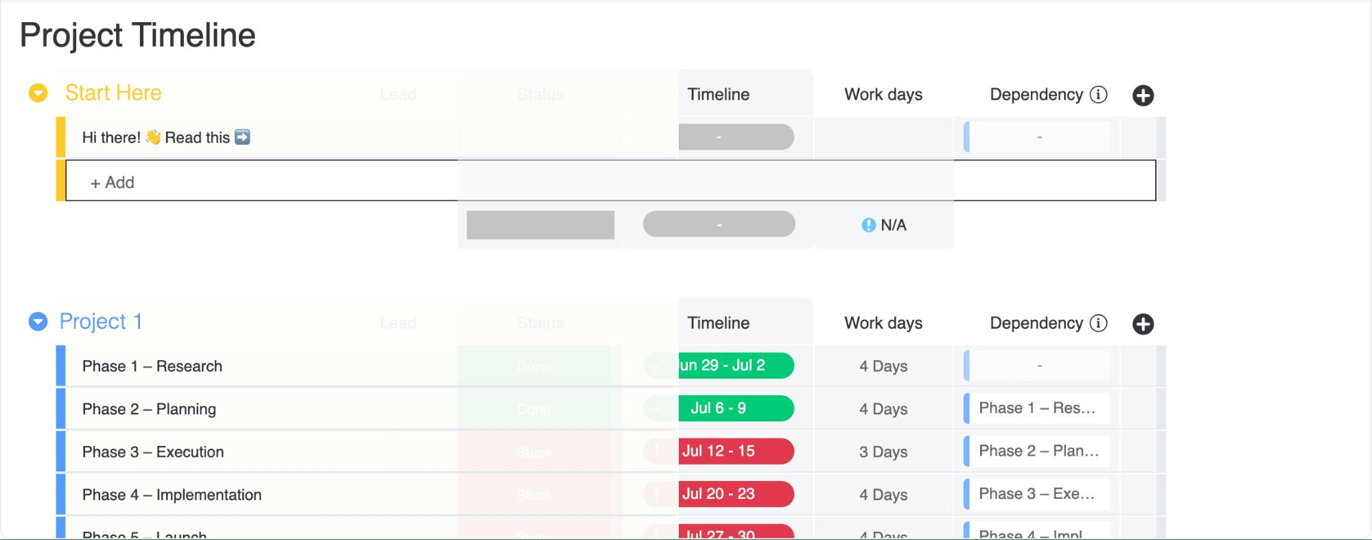 monday.com project timeline template