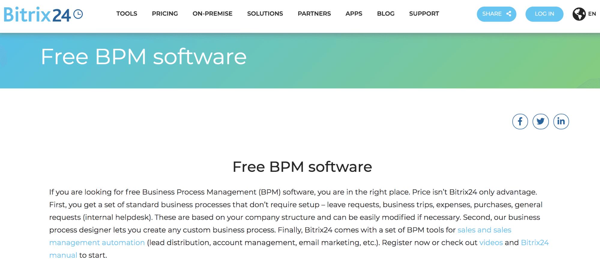 A screenshot showing Bitrix24's homepage.