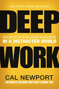 Productivity books: Deep Work - Rules for Focused Success in a Distracted World bookcover