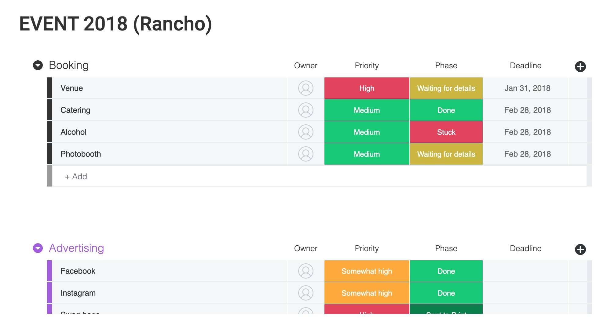 Event or Project tracking template from Monday.com