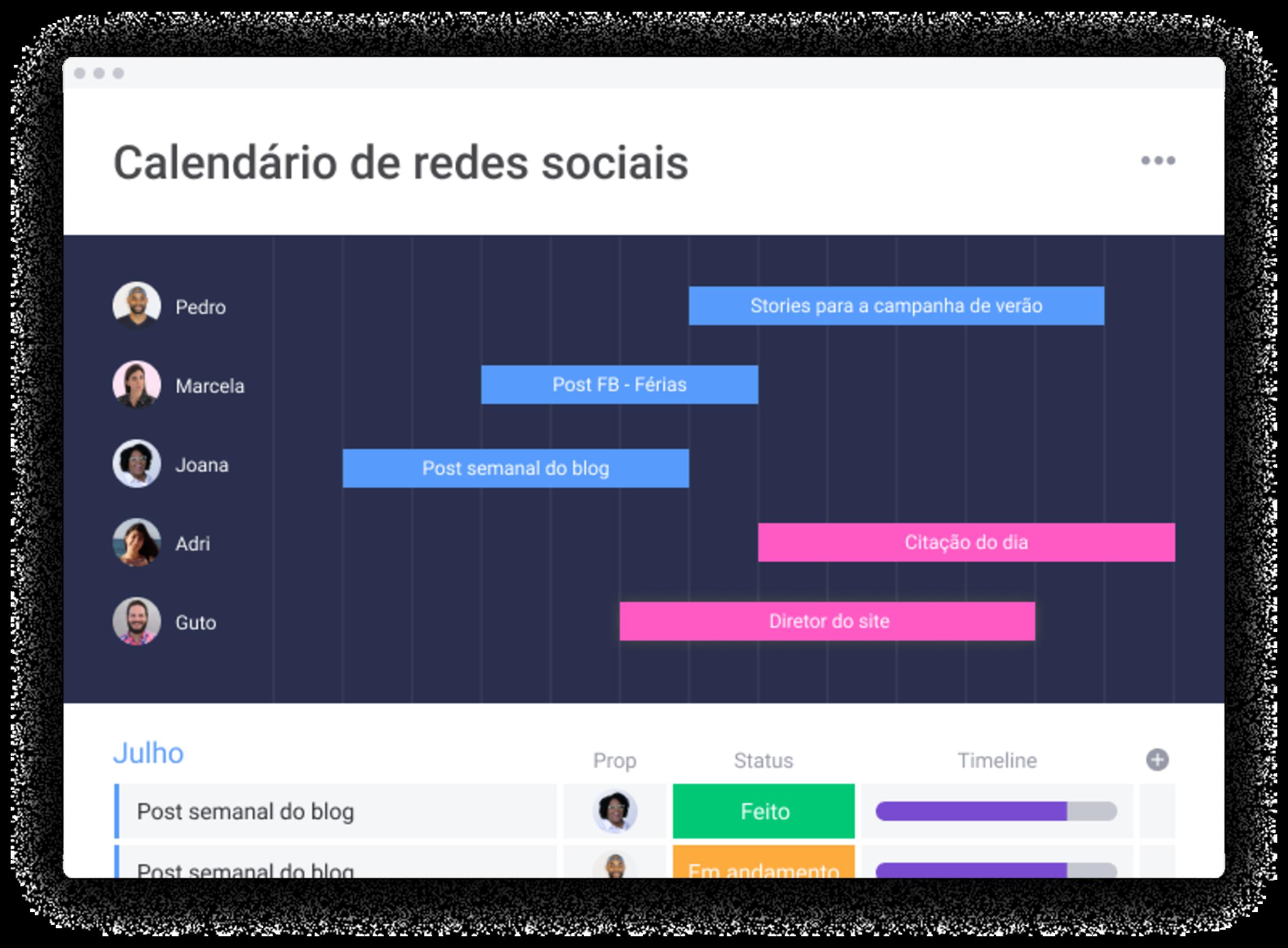 Template de calendário de redes sociais
