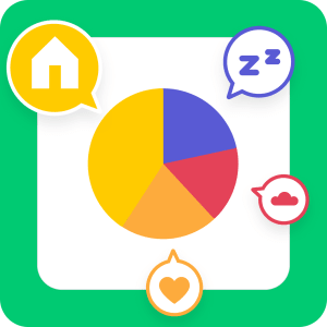 green background with colorful pie chart