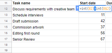 New table showing formula to calculate start date from the Project plan data
