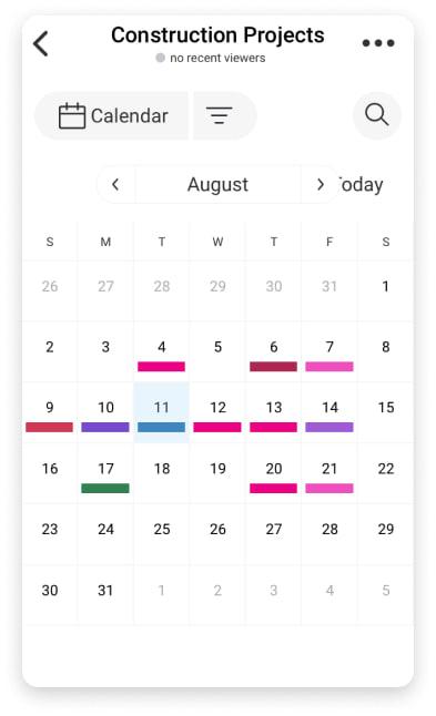 monday.com's shared calendar