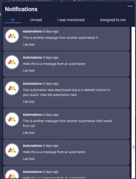 previous automation notifications