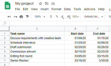 Project table in Google Sheets displaying the task name, start date and end date
