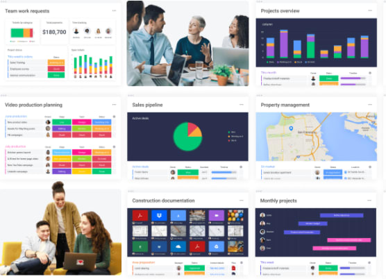 introductory image showing multiple dashboards and sectors in monday.com