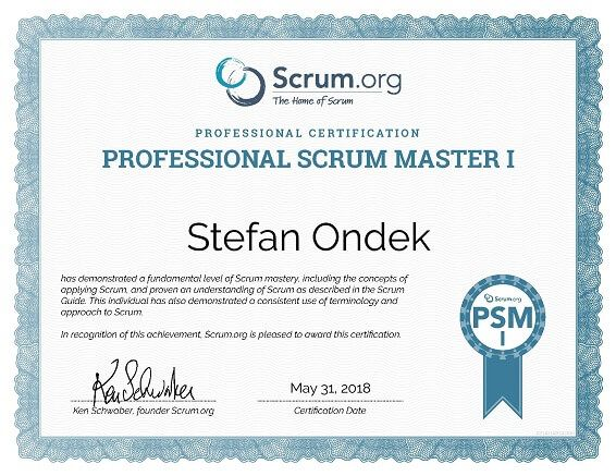 Photo of a Professional Scrum Master 1 certificate