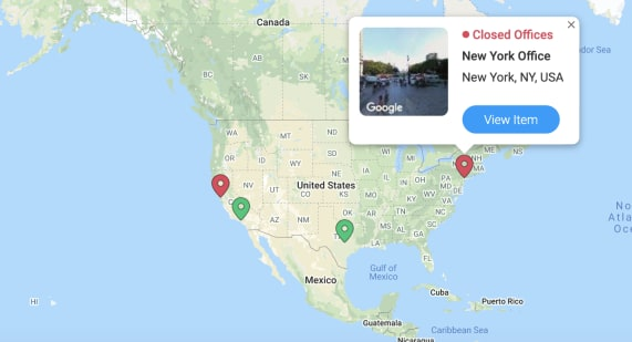 oficinas ubicadas el mapa de los Estados Unidos