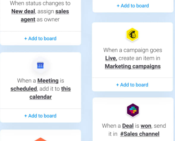 Sample marketing automations you can add to monday.com
