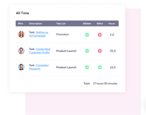 time tracking feature in teamwork